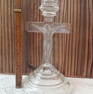 Vintage Accents - Vintage Glass Crucifix Candle Holder by HomCo